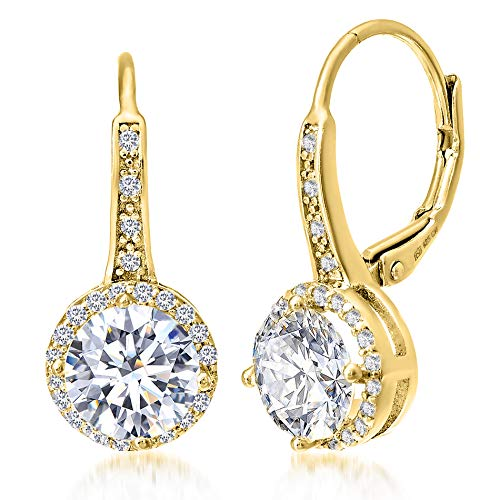 MIA SARINE Cubic Zirconia Halo Leverback Dangle Bridal Gift Earrings for Women for in Yellow Gold Plated Sterling Silver (Yellow)