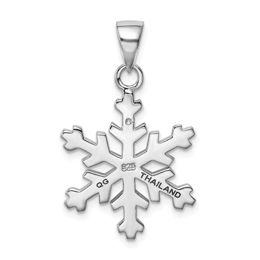 925 Sterling Silver Rhodium-Plated /& Crystal Snowflake Pendant