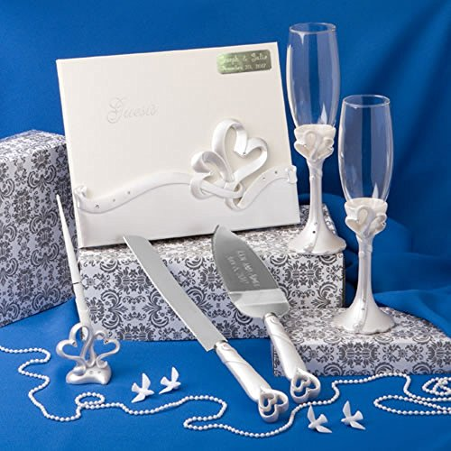 Engraved Wedding Day Interlocking Hearts Wedding Accessory Set: Egraved Cake and Knife Server, Engraved Book, 2 Champagne Flutes, Pen Set