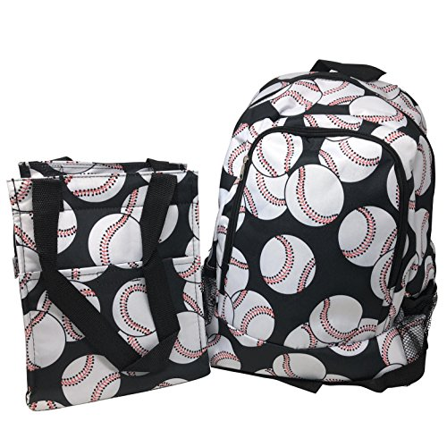 Kids Full Size Backpack with Side Mesh Pockets and Insulated Lunch Bag Box Carrier (White Baseball) ()