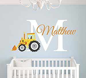 Personalised Tractor Wall Sticker Boys Tractor with Name Bedroom Farm Sticker