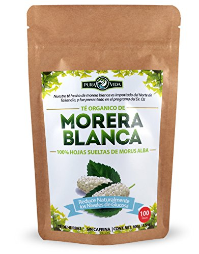 White Mulberry Tea / Te De Morera Blanca - Naturally Reduces Glucose Levels /Reduce Naturalmente Los Niveles De Glucosa - 100% White Mulberry Leaves (Morus Alba) - 100g = 100 Tazas