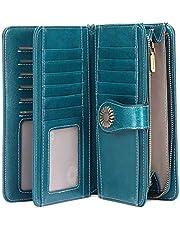 Carteira feminina para cartão de crédito com bolso com zíper, grande capacidade, com bloqueio de RFID, luxuosa, de couro legítimo, organizador de cartões