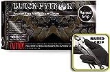 Black Python Heavy Duty Powder Free Nitrile Exam Gloves w/Tactical Grip, (Medium (Case of 1000))