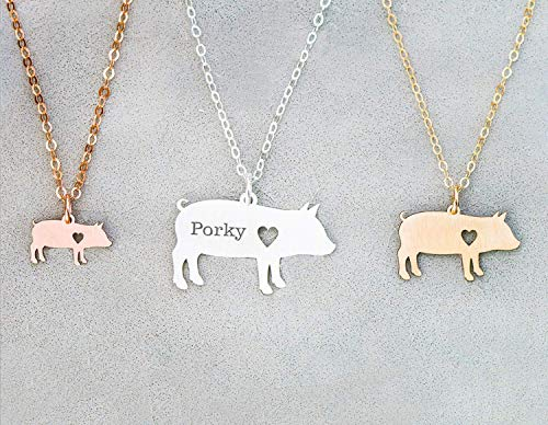 Pig Necklace - IBD - Farmer Gift - Personalize Name Date - Pendant Size Options - 935 Sterling Silver 14K Rose Gold Filled - Fast 1 Day Production