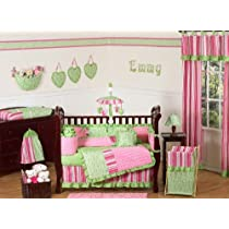 Funky Pink and Lime Green Olivia Boutique Baby Girl Bedding 9pc Crib Set by Jojo Designs