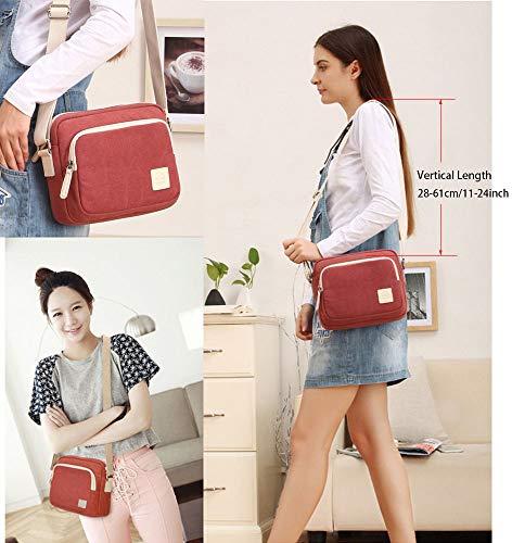 Cross Handbags Lightweight Canvas Rechor Bags Travel Multi Shoulder Womens Light Blue Burgundy Lake Bag Messenger Pocket Body ng7EPg