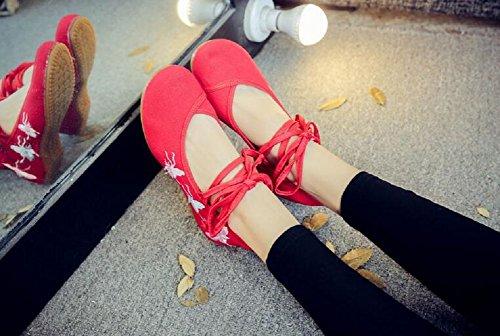 de Red Lazutom Zapatos mujer Lona de cordones para 4PRxqwAF