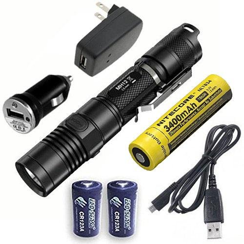 Combo: Nitecore MH12GT CREE XP-L HI V3 LED Rechargeable Flashlight w/USB Cord, Car & Wall Adaptors +2x Free Eco-Sensa Batteries