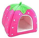 Ruikey Dog Sleeping Bed Strawberry Animal House Indoor Pet Warm Beds