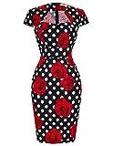 Women's Slim Fit Floral Midi Dress Vintage Cocktail Dress CL7597 (Medium, C-11)