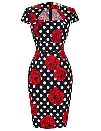 Vintage 1950's Summer Pencil Dress Polka Dot Size S CL007597-11