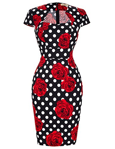 50s Vintage Pencil Dress for Cocktail Cap Sleeve Bodycon Dress CL7597 (Small, C-11)