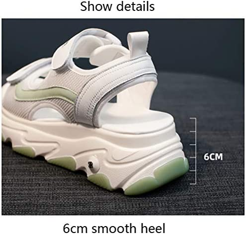MNSSRN-MM alla Moda Muffin Inferiore Spesso dei Sandali di Sport, Nuovo, Semplice e Versatile Comodo Aumenta Autoadesivo Casuale Signore Sandali con Zeppa,Verde,37  rBT0WK