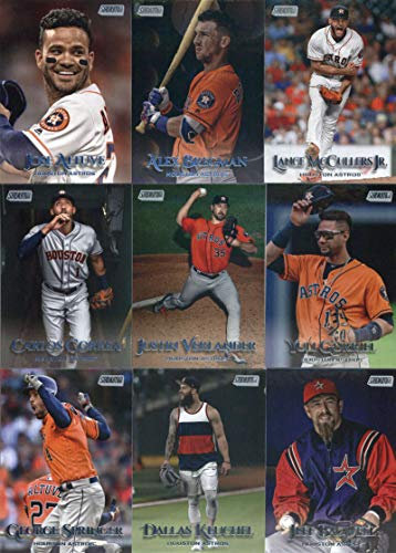2019 Topps Stadium Club Baseball Houston Astros Team Set of 14 Cards: Carlos Correa(#30), Lance McCullers Jr.(#31), Alex Bregman(#44), Justin Verlander(#67), Kyle Tucker(#106), Gerrit Cole(#111), Yuli Gurriel(#122), Josh James(#129), Jeff Bagwell(#134), Myles Straw(#140), Dallas Keuchel(#148), George Springer(#156), Jose Altuve(#170), Nolan Ryan(#251)