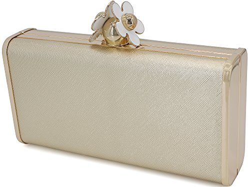 Large with Clutch Evening Flower Bag Gold Dexmay Clasp ZCqw8dZI