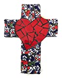 Mexican Tile Talavera Wall Cross 9 inch X 6 inch Handcrafted Mosaic Red Heart with Multi colored Mexican Ceramic tile,