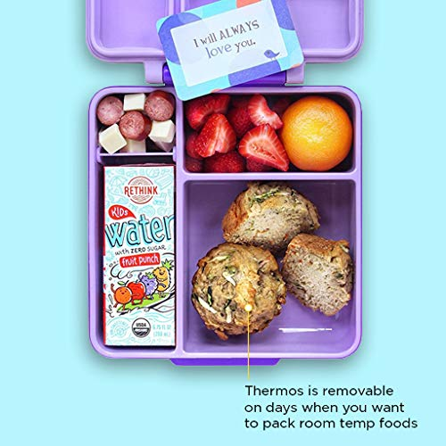 42cbb35de02 OmieBox - 3 Compartment Bento Lunch Box + Thermos Food Jar for Kids - Leak-