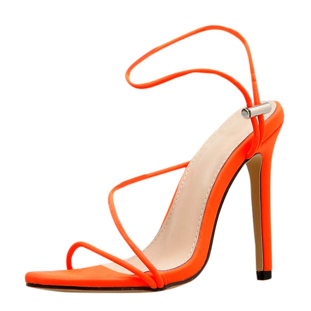 Women Gladiator Strappy Sandals,Ladies Summer Party High-Heels Open Toe Ankle Straps Sandal