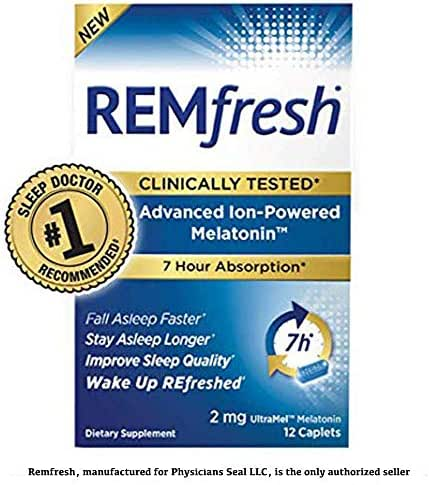 REMfresh 2mg Advanced Melatonin Sleep Aid Supplement (12 Caplets) | Drug-Free, Sleeping Pills to Support Restful, Natural Sleep | #1 Doctor Recommended | Pharmaceutical-Grade, Ultrapure Melatonin