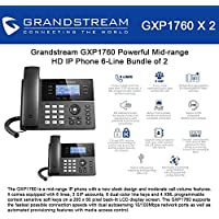 Grandstream GXP1760 Bundle of 2 Powerful Mid-range HD IP Phone 6-Line, 3 SIP accounts