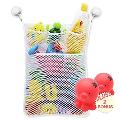 Kid white bath storage for toys, Bathroom Organizer Net Set with 4 Pocket, 2 Vacuum Suction Cup and 2 Water Spray Dolphin Toy