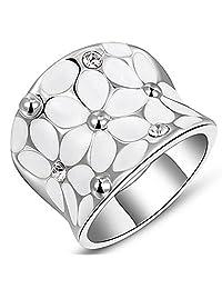 Womens Elegant Enamel Flower White/Rose Gold Band Bloom Petal Platinum Wedding Engagement Ring Crystal Inlay,Large