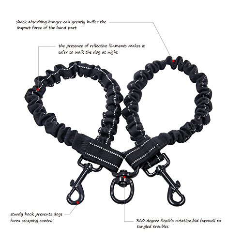 double dual dog leash petender no tangle dog lead with padded handle for two dogs 5