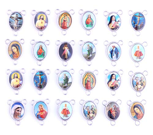 80pcs Mix Picture Cross Jesus Enamel Our Lady Miraculous Medal Floral Rosary Centerpiece Alloy Crucifix Cross Pendants Charms ()