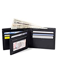 ID Stronghold RFID Mens 10 Slot Bifold Wallet in Genuine Leather - RFID Blocking Wallets for Men (Black)