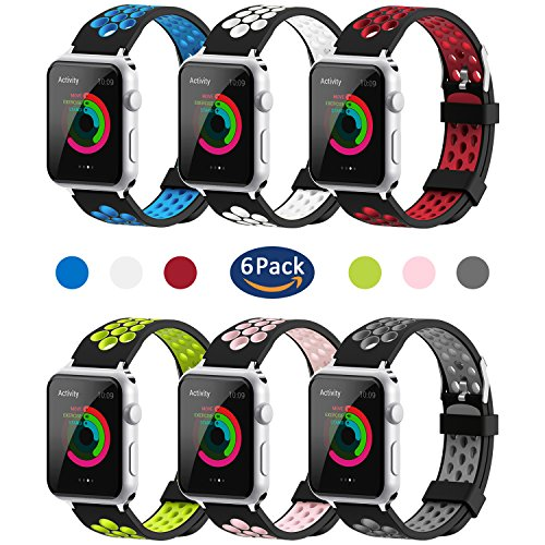for Apple Watch Band 38mm 42mm,YiJYi Soft Silicone Sport Strap Replacement Wristband iWatch Bands for Apple Watch Series 3,Series 2,Series 1 (06 Pack, 42mm)