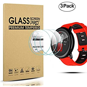 Diruite 3-Pack for Huami Amazfit Pace Multisport GPS Running Smartwatch Tempered Glass Screen Protector [2.5D 9H Hardness] [Anti-Scratch] [Perfectly Fit] ...