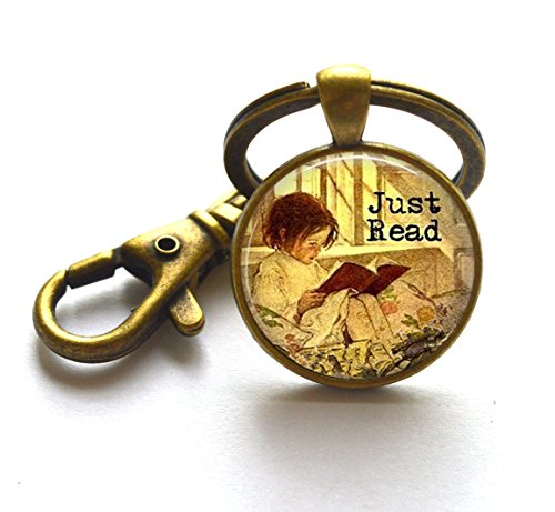 Moon Key Rings,Just Read w Girl Reading a Book - Reading Jewelry - Reader Gift - Book Lover Present - Librarian Gift - Teacher Gift - Love to Read,AS0251