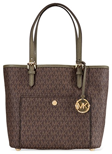 Michael Kors Jet Set Medium Top Zip Logo Tote - Brown/ Olive by MICHAEL Michael Kors