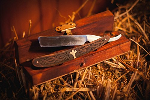 Straight razor Viking Celtic Nordic carving with Algiz protection rune in wooden box with Free Shipping men's gift by Magic Ethnics