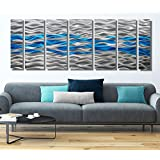 """Large Contemporary Silver & Teal Painted Multi-Panel Metal Wall Art - Modern, Abstract Home Décor, Accent Art- Caliente Aqua by Jon Allen - 96"""" x 36"""""""