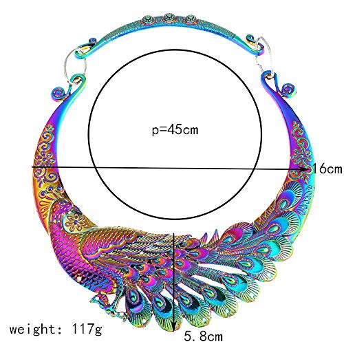 Han shan Women's Fashion Big-Name Costume Carving Colorful Retro Peacock Necklace Necklace Thick Collar Collar Collar Necklace (Peacock Necklace) by Han shan