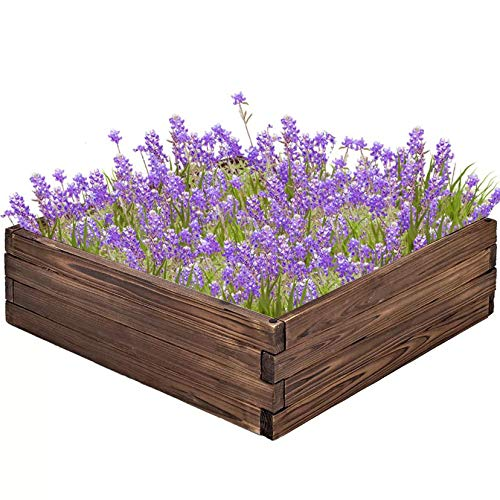AMERLIFE Garden Raised Bed Wooden Raised Garden Bed Planter Square for Vegetable Flower Natural Wood Portable for Outdoor Patio Lawn Yard, 24 Lx24 Wx10 H, Brown
