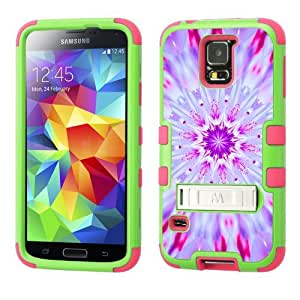 One Tough Shield ? Hybrid 3-Layer Kick-Stand Phone Case (Lime/Pink) for Samsung Galaxy S5 / S-V - (kaleidoscope/ Cherry Blossom)