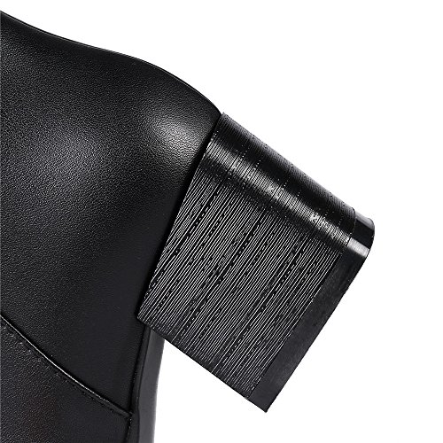 Leather Heel Black Buckle Women's Genuine Toe Seven Nine High Block Boots Handmade Pointed Knee Style 6qE0CFx