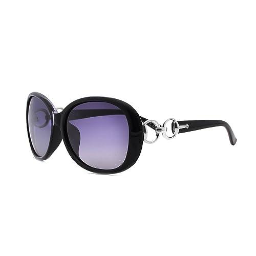 VeBrellen Lujo transparente gafas de sol polarizadas Gafas retro Mujer de los anteojos UV400 (Black, 60)