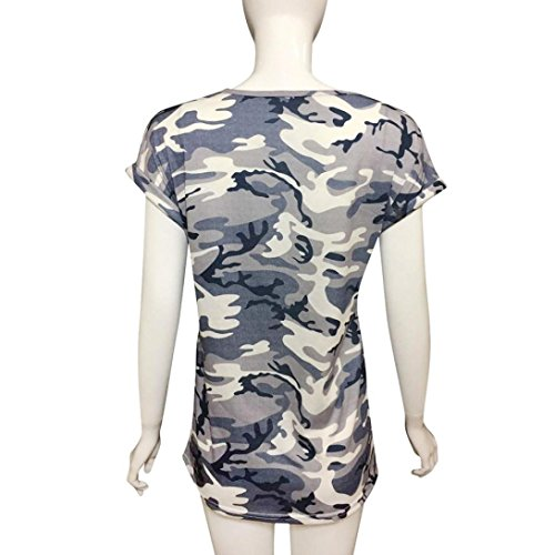 Women's Tops,Neartime Short Sleeve Camouflage T-Shirt With Fake Pocket (XL, Camouflage) Photo #3