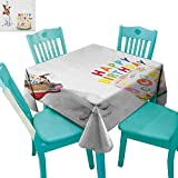 longbuyer Kids Birthday,Washable Tablecloth,Russel Dog Domestic Puppy Pet with Hat at a Party Celebration with Yummy Cake,70''x70'',Suitable for Kitchen, dustproof Desktop Decoration