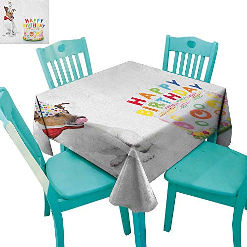 longbuyer Kids Birthday,Washable Tablecloth,Russel Dog Domestic Puppy Pet with Hat at a Party Celebration with Yummy Cake,70''x70'',Suitable for Kitchen, dustproof Desktop Decoration by longbuyer (Image #6)