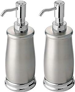 mDesign Decorative Metal Refillable Liquid Soap Dispenser Pump Bottle for Bathroom Vanity Countertop, Kitchen Sink - Holds Hand Soap, Dish Soap, Hand Sanitizer, Essential Oil - 2 Pack - Chrome/Brushed
