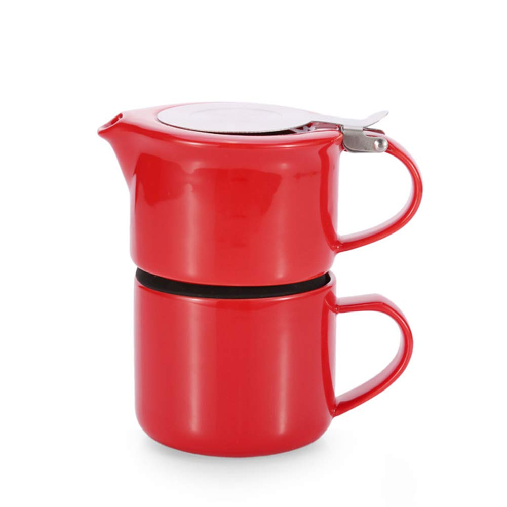 Coffee Pot Tea Pot Coffee Kettle Espresso Coffee Maker Coffee Machine French Coffee Press Ceramics Pot Cup Group Dual Use Portable GAOFENG (Color : Red, Size : 450ml)