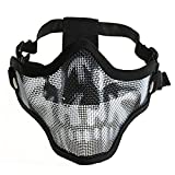 Tinksky Outdoor Metal Mesh Protective Mask Tactical Airsoft Camouflage Military Half Face Mesh Mask (Black) - Gifts for Men and women