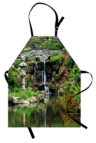 (Ambesonne Japanese Apron, Cascading Waterfall Pond Under BridgeReflections of Flowers inWater Pattern, Unisex Kitchen Bib with Adjustable Neck for Cooking Gardening, Adult Size, White Green)