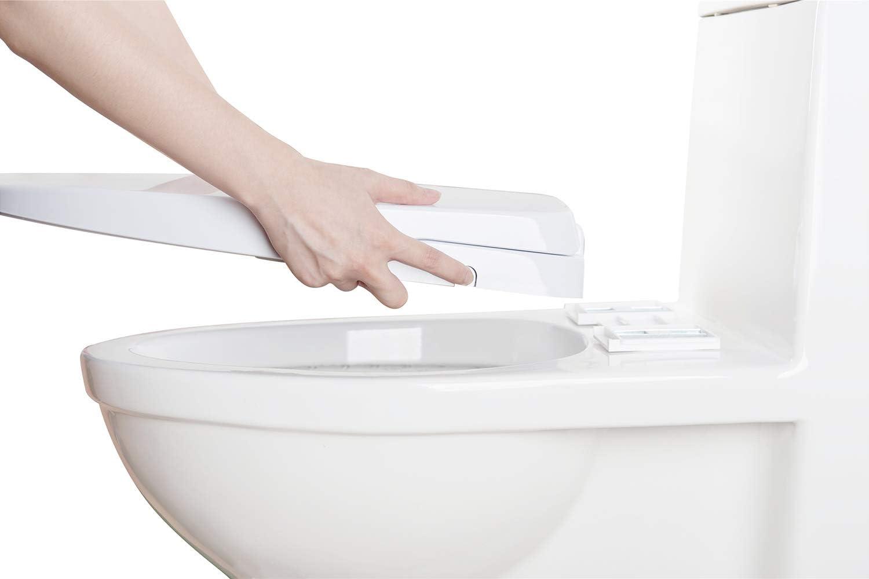 sedile per WC chiuso morbido allungato avanzato senza pulizia posteriore e femminile separate dallelettricit/à facile installazione fai-da-te IBAMA Copriwater per bidet con ugelli doppi autopulenti