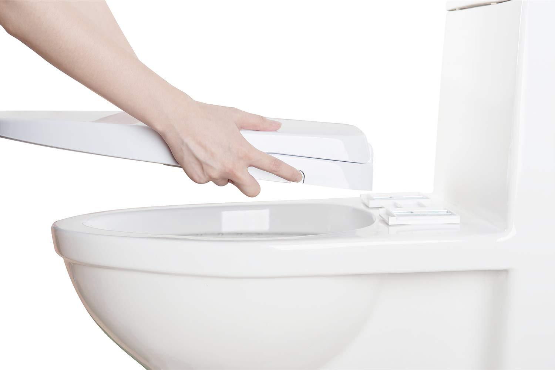 IBAMA Copriwater per bidet con ugelli doppi autopulenti facile installazione fai-da-te sedile per WC chiuso morbido allungato avanzato senza pulizia posteriore e femminile separate dallelettricit/à